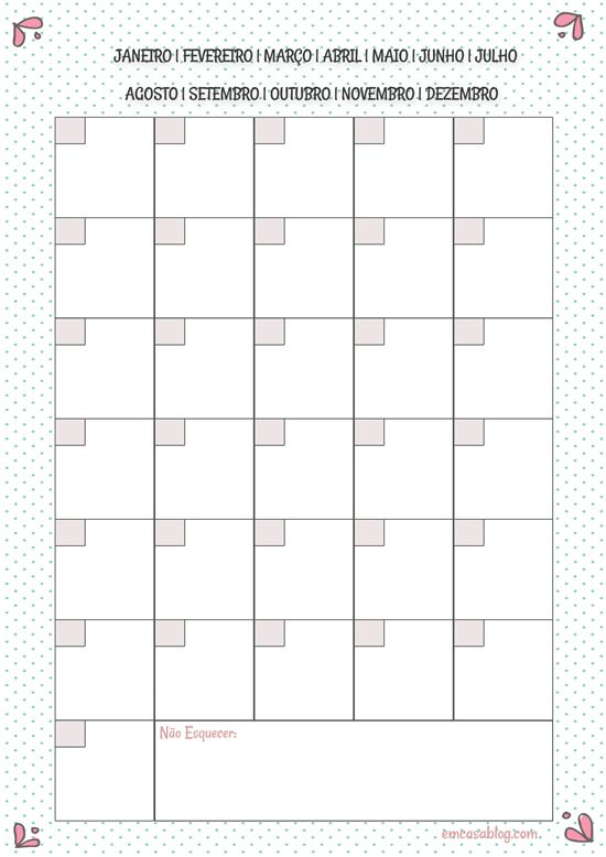 Planner mensal | free download