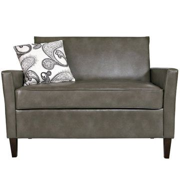 For Your Office / Angelo:HOME Sutton Loveseat Renu Leather Gray Bark With  Modern Charcoal Black U0026 Cream Paisley Pillows Images