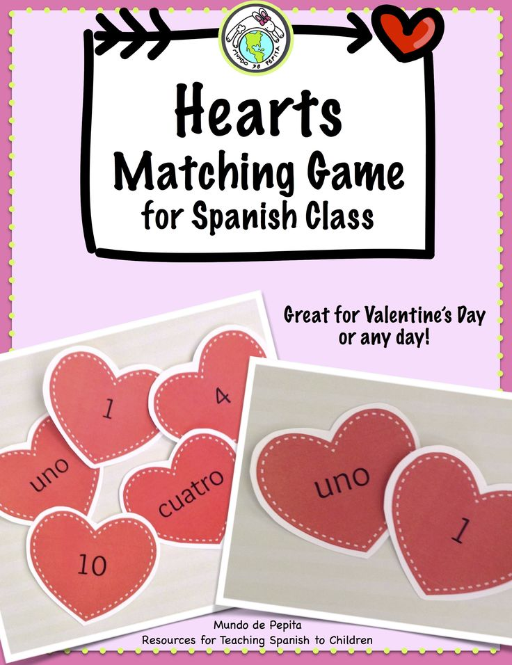 Your elementary Spanish students will have so much fun with this FREE matching game-perfect as a greeting game, brain break or transition. Play for Valentine's Day or any day! Mundo de Pepita, Resources for Teaching Spanish to Children