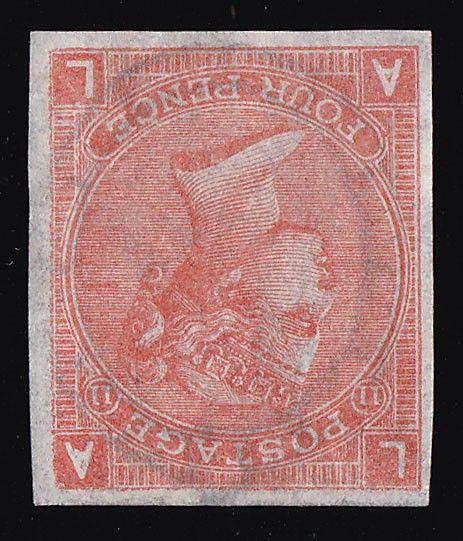 1865-73 QV 4d vermilion, large white cnr letters, plate 11, IMPERF, wmk large garter INVERTED. Superb fresh UN, 4 large margins & bright colour. SG Spec J58a, SG 94a cat £8500. Extremely rare imperf error. Cert can be obtained on request. (P) #Stamps #Errors #MADonC