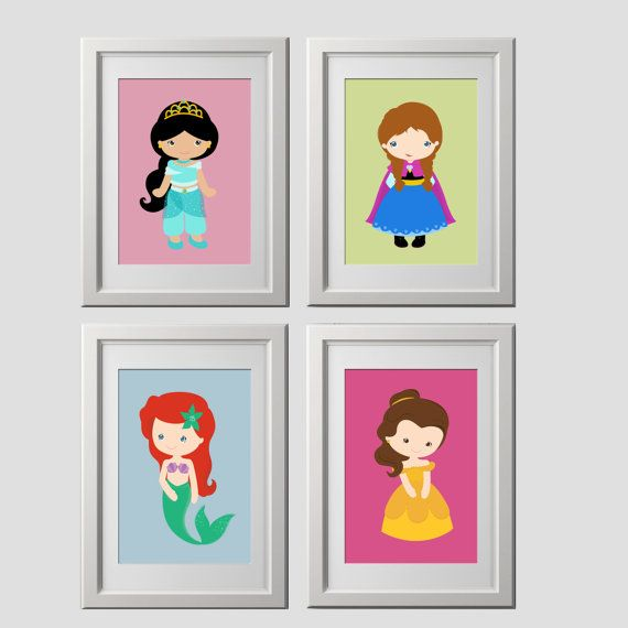 Princess wall art, color customized, SET OF 4 prints, shipped to your door, lots of princess choices on Etsy, $35.99