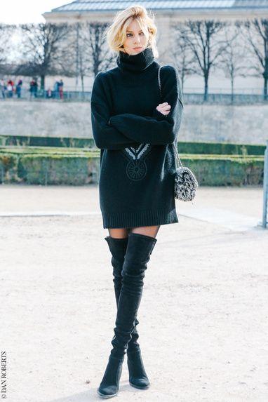 Tendance mode, total look noir. Winter - Cuissardes à talon. Avec une robe, une jupe, un short.