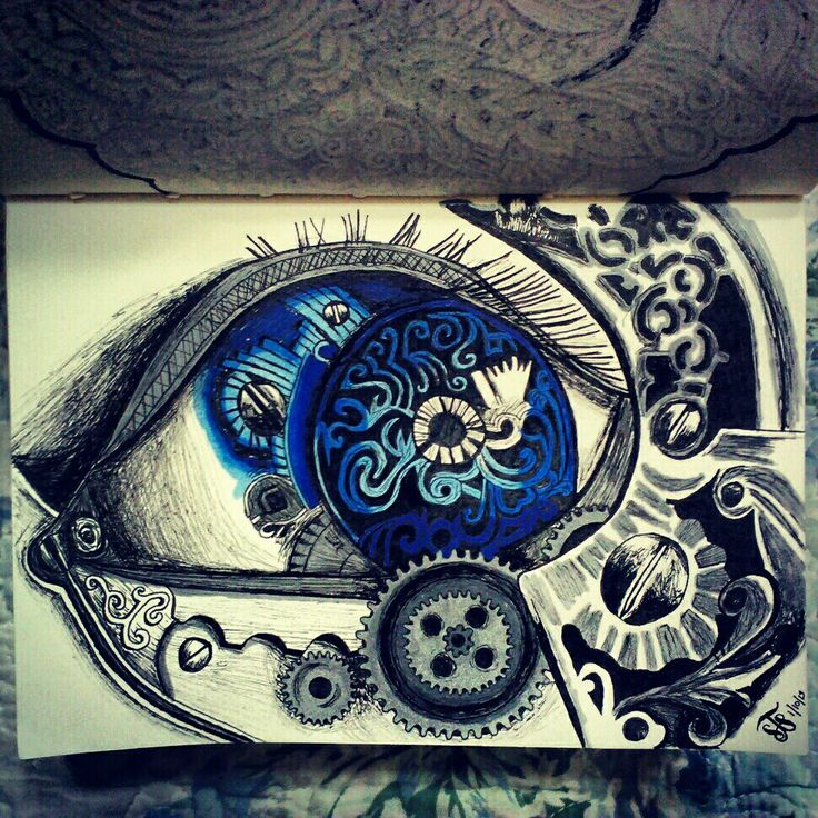 Mechanical eye drawing inspired by a tattoo @Artsnapper ...