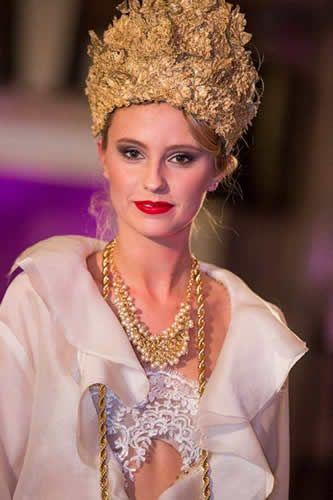2014 MSFW Curated Program – ART du JOUR by Leiela, THE SPRING SOIRÉE featuring Vintage Designs Gold Lace Edwardian Crown