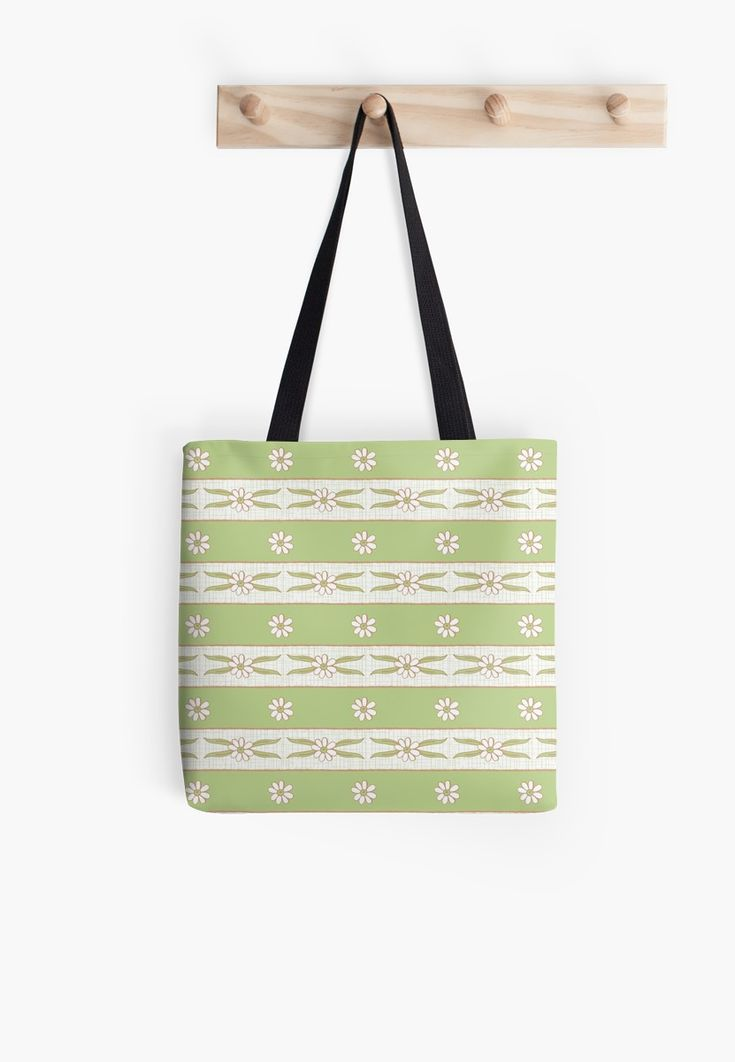 #Letucce #Green #Stripes #flower #lines #daisies #leaves #blossom #fresh #calm #Springtime #Pastel #Flowery #garden #fresh #girly #Mia #redbubble #totebag