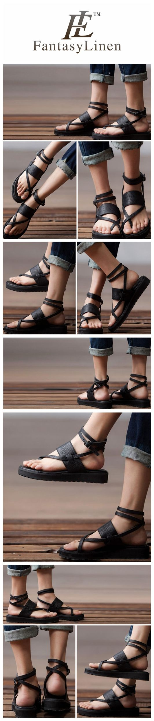 Summer Black Flat Strappy Sandals S36171A > Material: The first layer cowhide And rubber soles > With high: 3 cm ,With type:Flat with >Weight : 0.8 kg > Size:US 5-7.5 >Colors : Black >>>>>>>>>>>>>>>>>