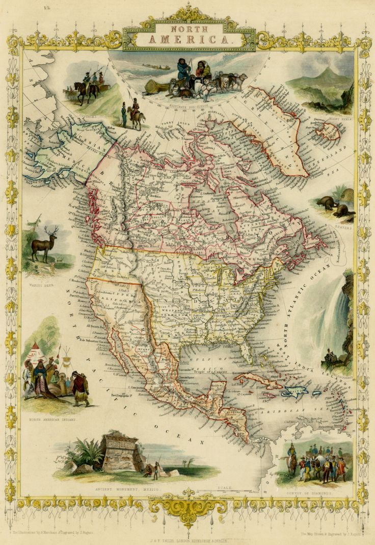 This map of North America was made in 1851 by John Tallis.