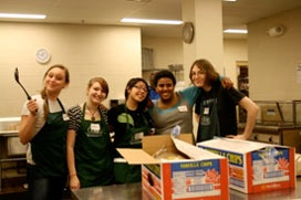 Volunteer in a soup kitchen