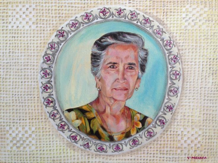 """Retrato de Tia Celia"" acrílico sobre bastidor de tela artist: Verónica Miranda"