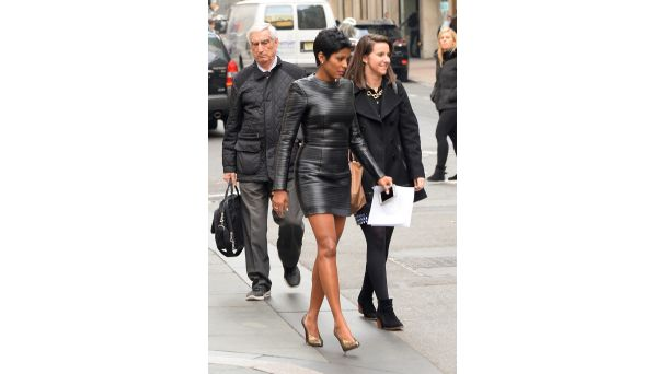 Best Dressed of the Week: Tamron Hall The Today Show anchor takes on NYC dressed to kill in a Balmain black leather pleated mini.