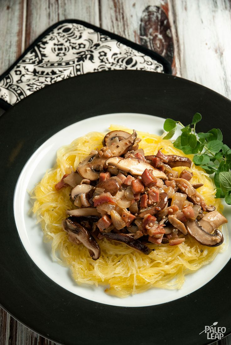Spaghetti Squash with Creamy Mushroom Sauce