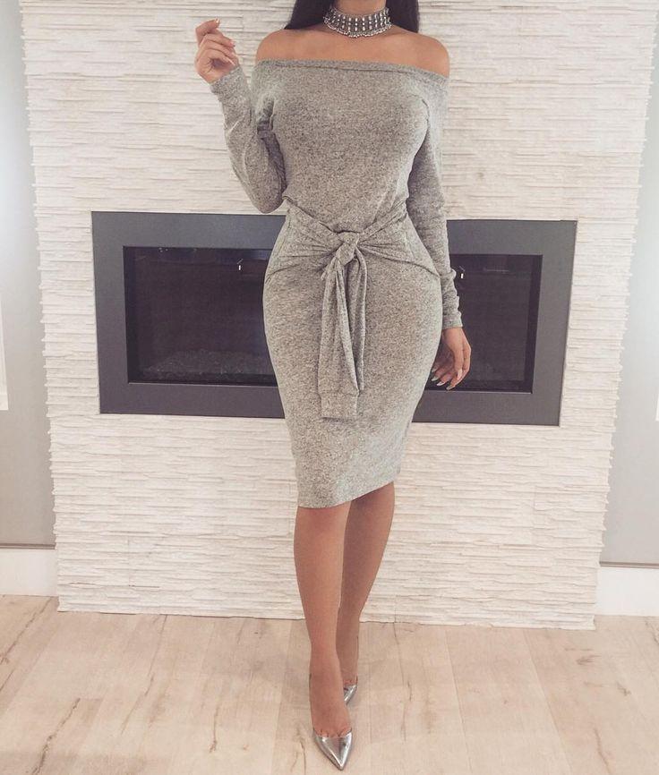 Tie Me Up Dress + Angelina Choker ✔️www.ZieBoutique.com✔️ #zieboutique #newarivals #greystyle #shadesofgrey