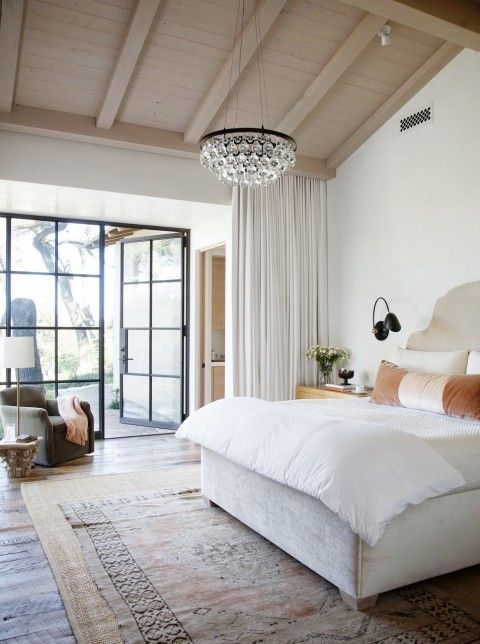 peaceful bedroom, steel doors