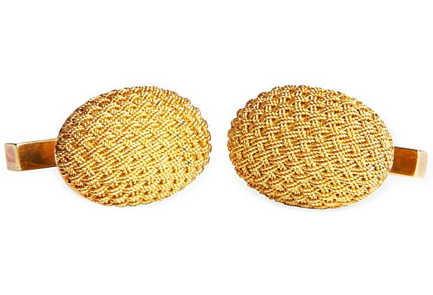18K Yellow Gold Tiffany Cufflinks on OneKingsLane.com