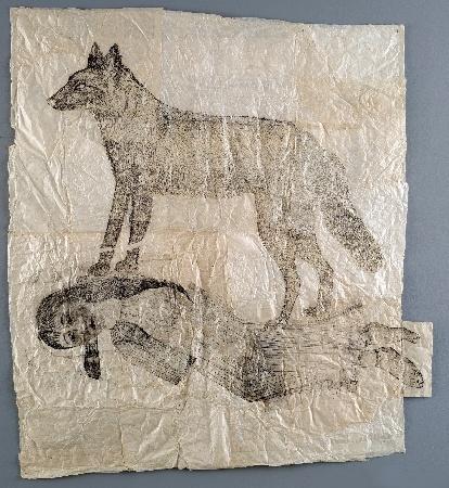 Kiki Smith - Sleeping woman with standing wolf  2004