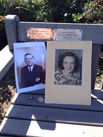 plaques and photos - most of the benches are in memory of someone.