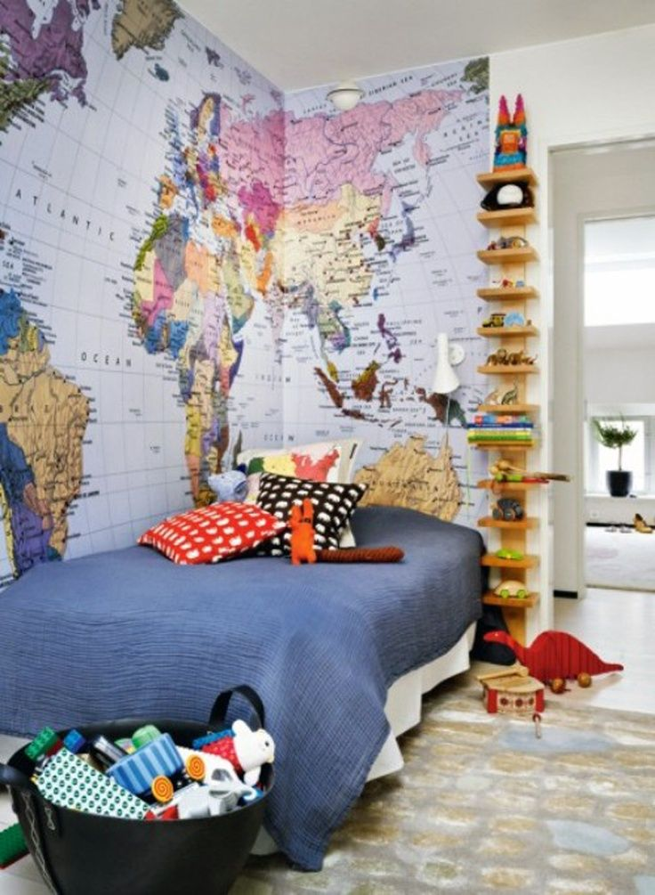 YES! Get your kids in-the-know with their geography – this would have really helped me growing up! Map + World Travel Boy's Bedroom | Travel Around The World