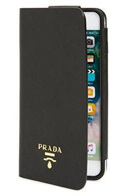 ce6bb2cb8d30 PRADA Designer Saffiano Metal Oro Book iPhone 7 Plus Wallet