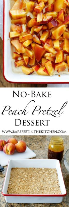 Peach Pretzel Dessert is salty, sweet, and requires no baking! It's the perfect treat for summer!