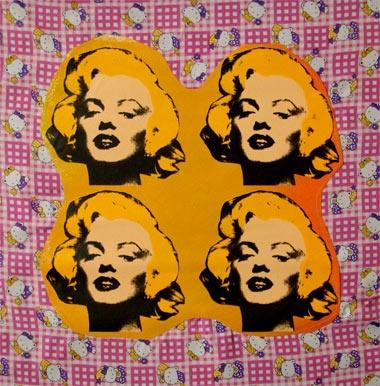 Steve Kaufman > Four Marilyn's on Hello Kitty  #stevekaufman #popart #marilyn #canvas #silkscreen #fineart #prints