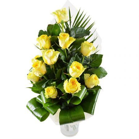 Yellow roses as wish of happy, successful life, and also as reminder about pleasure and gladness of socializing with that whom a bouquet is intended.