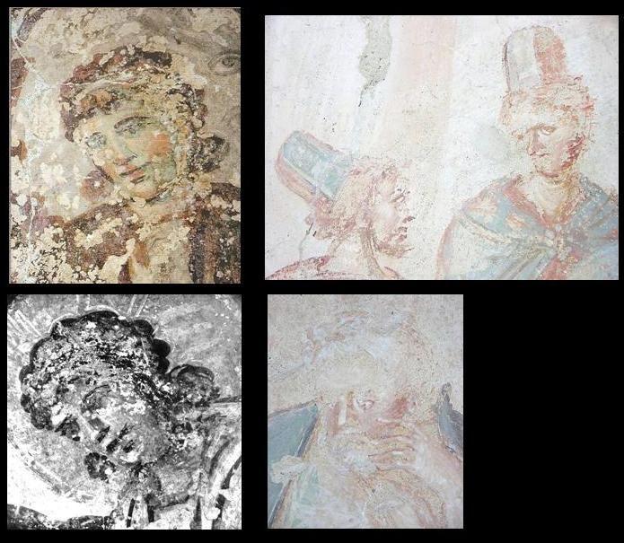 Il confronto degli affreschi di Santa Maria Antiqua a Roma (a siniastra, Esaltazione della Croce, VIII sec) e della Chiesa di Santa Maria foris portas, Castelseprio, Lombardia. Alcuni studiosi (anche Lasarev) li attribuiscono al VIII secolo, collegandoli agli affreschi di Santa Maria Antiqua a Roma