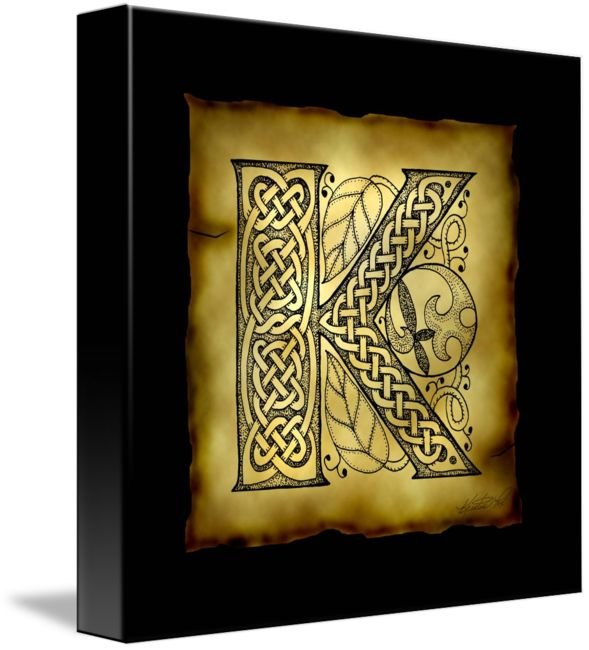 """Celtic+Letter+K""+by+Kristen+Fox,+New+York+//+An+original,+hand-drawn+letter+K+from+the+full+alphabet+done+in+Celtic+style,+with+intricate+knotwork,+spirals,+and+leaves,+on+a+faux+parchment+background+on+a+black+field.+A+wonderful+monogram+print+for+first+name+or+surname+initials.+//+Imagekind.com+--+Buy+stunning+fine+art+prints,+framed+prints+and+canvas+prints+directly+from+independent+working+artists+and+photographers."