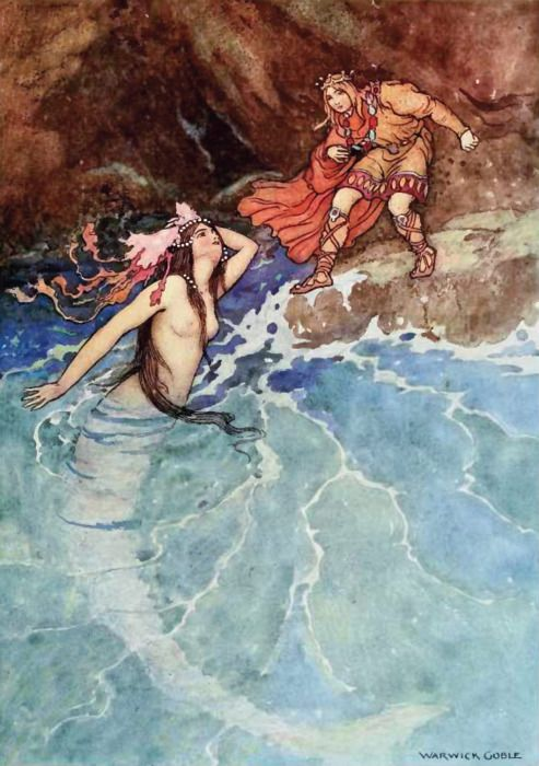 "The Yellow Dwarf ""There, one day, he heard a voice,and presently after was surprised by the appearance of a mermaid"" - Warwick Goble"