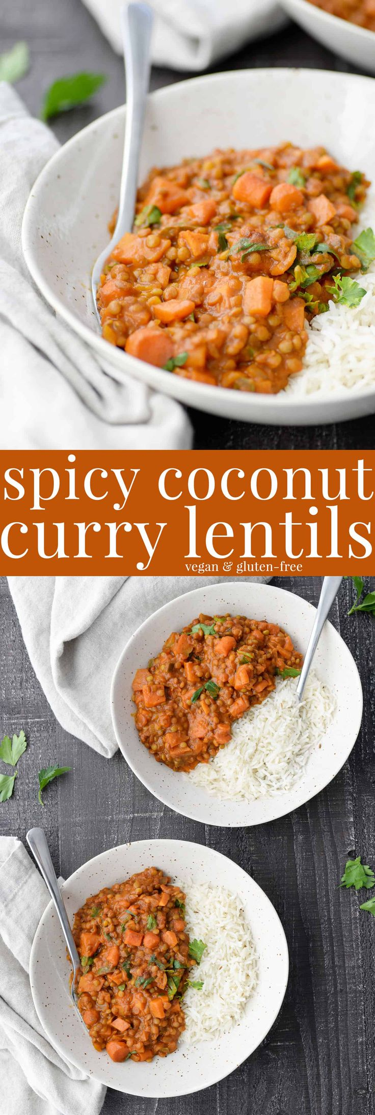 Spicy Vegan Coconut Curry Lentils! These lentils are the perfect quick weeknight meal. Curried lentils in a tomato coconut sauce, ready in just 30 minutes! #vegan and #glutenfree | www.delishknowledge.com