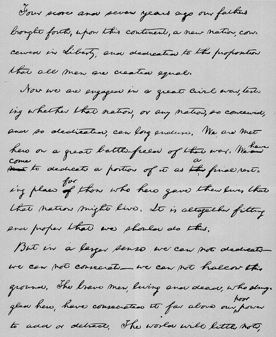 Page one of Gettysburg Address in Lincoln's handwriting