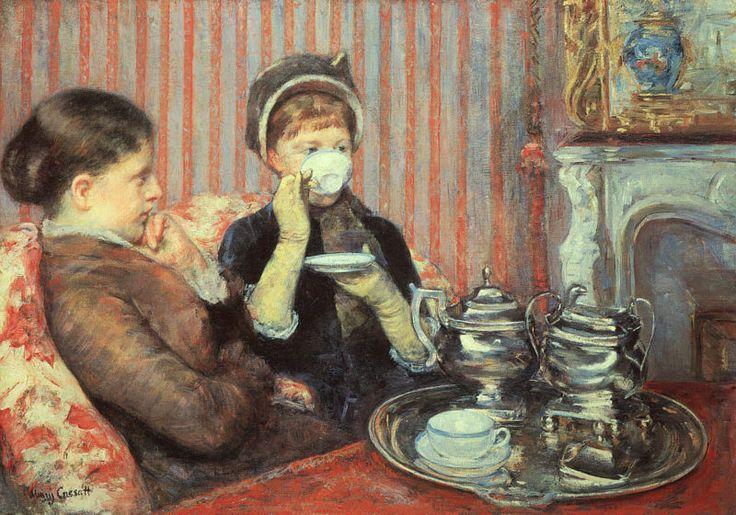 'Tea' by Mary Cassat, 1880.Teas Time, Cups, 19Th Century, Art, Marycassatt, Oclock Teas, Afternoon Teas, Mary Cassatt, Oil Painting