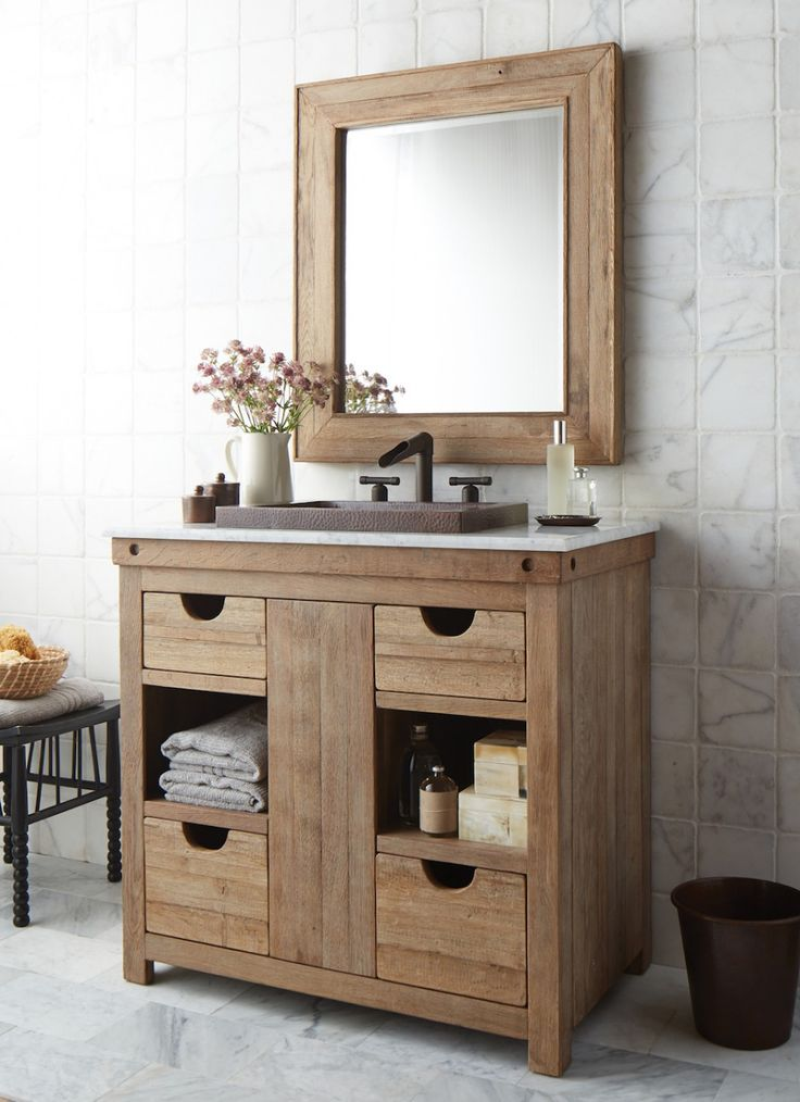 Simple Country Cottage Style Bathroom Vanity featuring Brown Laminated Wooden  Bathroom Vanity and Wall Mounted Mirror