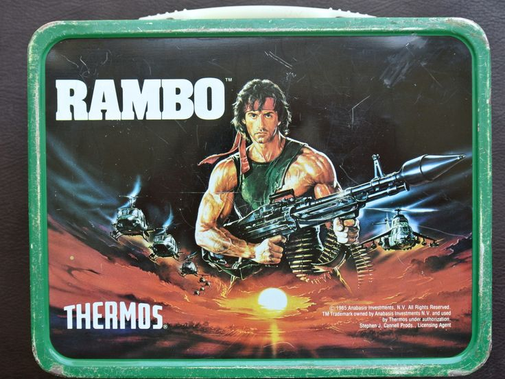 Vintage Lunch box, Rambo Lunch Box, 1980s Metal Lunch Box, Thermos Lunch Box, Movie Lunch box by DomesticTitanVintage on Etsy