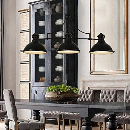 BAYCHEER HL416343 Industrial Retro Vintage style Three-Light Pool Table Light Linear Island Chandelier Pendant Light Lampe with 35.43 inch Length Chain in Black Finish use E26/27 Bulb - - Amazon.com