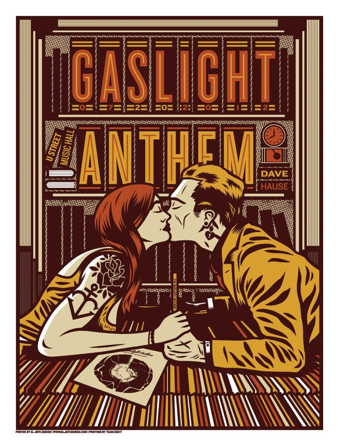 The Gaslight Anthem - Washington, DC - 2012 - Screen print gig poster. $30.00, via Etsy.