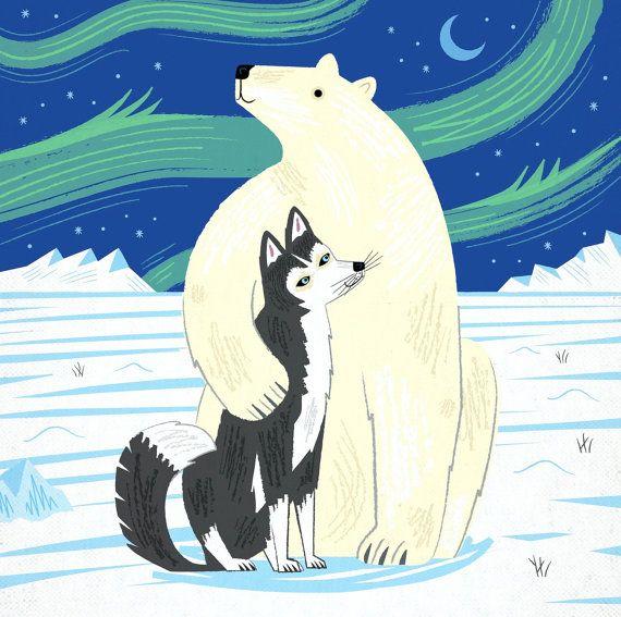 The Polar Bear and The Husky -  Limited Edition Print