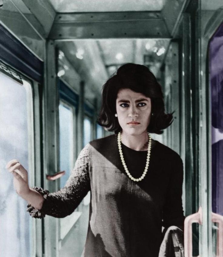 """Irene Papas in """"A ciascuno il suo"""", 1967, di Elio Petri, scritto da Leonardo Sciascia, musiche di Luis Bacalov, con Gian Maria Volontè e Gabriele Ferzetti."""