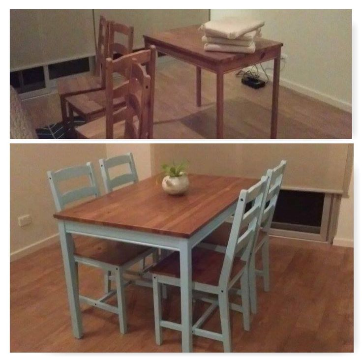"A tired looking ""JOKKMOKK"" Ikea table setting which I bought for $50. Finished it with a ""farmhouse"" inspired look. Ikea hack."