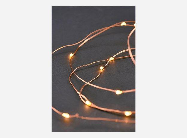 Vg0210 - String lights, 10 m, Cobber, 80 bulbs, 10 cm between the bulbs, Batteries w. timer fuction