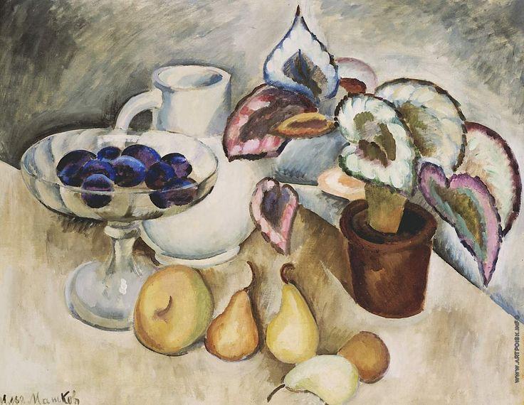 Илья Машков. Натюрморт с белым кувшином и фруктами. 1912—1913 +