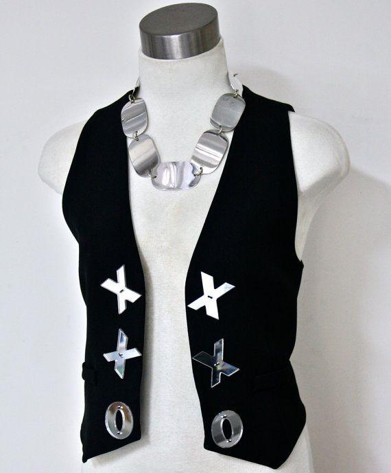 MOSCHINO Cheap and Chic cuore Vintage gilet lana nera XO specchio estirpare gilet - autentica-