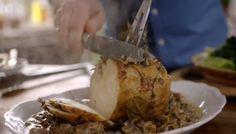 Jamie Oliver zombie brain whole-roasted celeriac with mushroom sauce recipe on Money Saving Meals #Jamiesveganandvegetarianrecipes