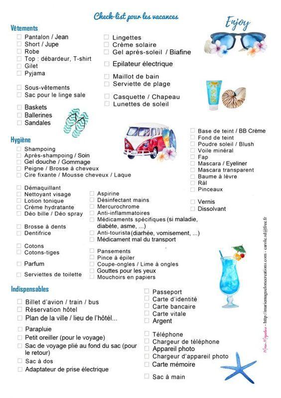 Check list vacances offerte par Marie-Maguelone                                                                                                                                                                                 Plus