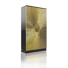 HEIVE TALL CABINET BY KOKET | The alluring golden doors feature an exploding sunburst design enchanting you at first glance | http://buffetsandcabinets.com