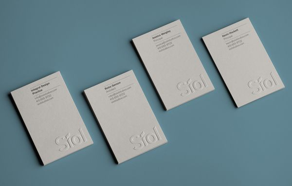 Logo and blind emboss business cards for San Francisco-based architecture studio Síol created by Mucho