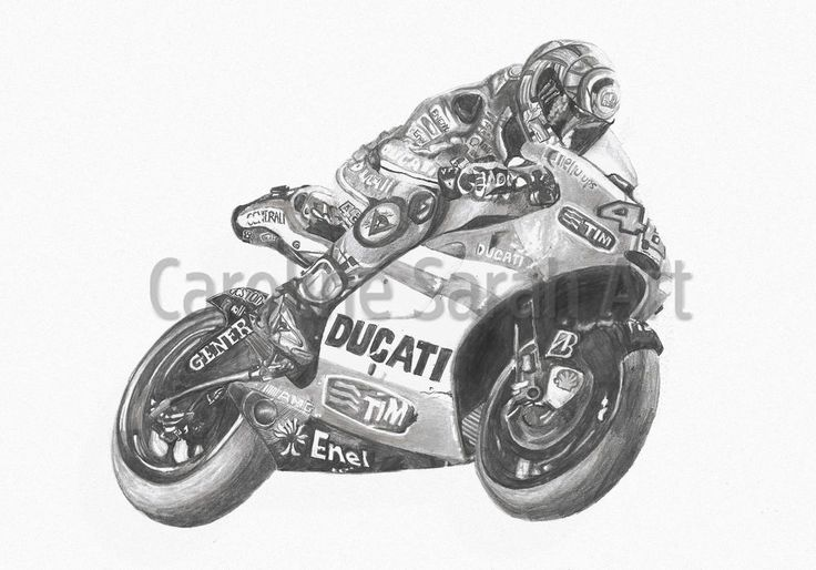Fine Art Drawing of MotoGP's Valentino Rossi on The Ducati on A4 Print - Available to buy on ebay.