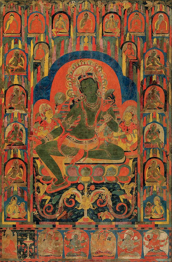 This palm leaf manuscript illustration was done in the 12th century at one of the great monastic centers in North India. This Green Tara, shown bestowing boons, is only 2 ¼ inches tall. It is amazing how the artist has managed to subtly depict this dynamic figure in great detail. Such imagery went on to have a great impact on the emerging painting traditions of Tibet.