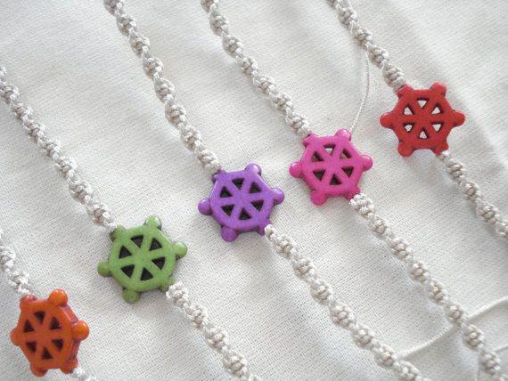 Ship wheel bracelet Howlite wheel bracelet Cord bracelet by Poppyg