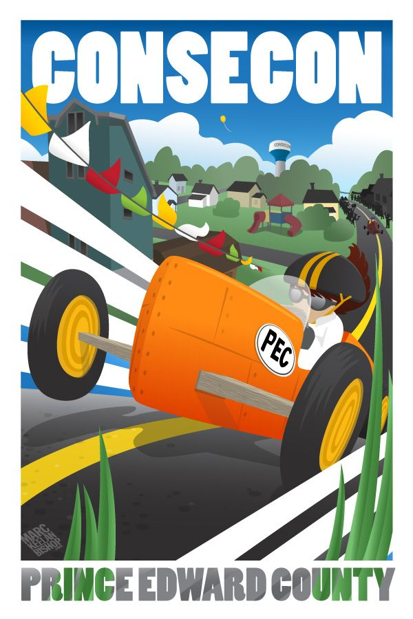 "The lovely village of Consecon, tucked in between the Loyalist Parkway and Lake Ontario, becomes a street racing destination every summer when the Consecon Soap Box Derby takes over ""the hill"", drawing kids from near and far. Small town fun at it's best."