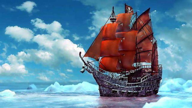 HD Gedrukt olieverfschilderij Art Muur Piratenschip Ijs Sneeuw schepen Boten Pirates Oceaan Zee Landschap Foto Op Canvas Thuis decoratie